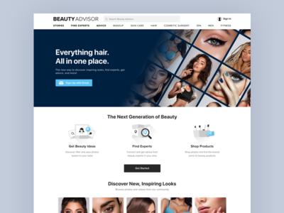 Beauty Advisor Homepage skincare makeup simple minimal design landing ui whitespace beauty homepage