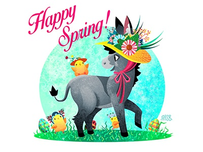 Happy Spring 2019 easter eggs cute baby animals chicks animals illustration art donkey spring easter