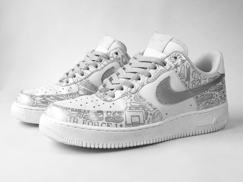 timeless design 244cf 7021d Nike Air Force 1 Low Silver on White hand drawn shoes shoe paint nike ink  illustration