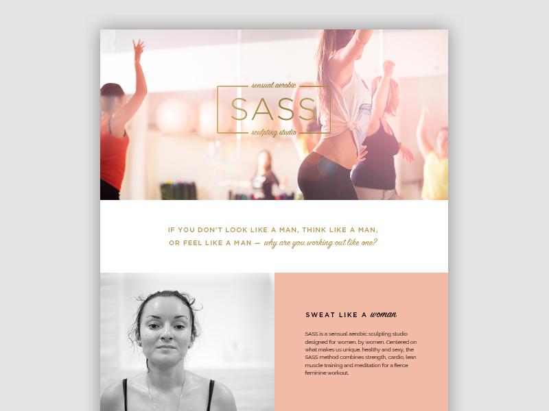 SASS Fitness web website brand fullscreen female fitness onepage ux ui