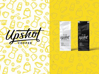 Upshot Coffee Rebrand icons logotype rebranding rebrand mug portafilter script coffeebag coffee lettering handlettering logo branding design vector illustration