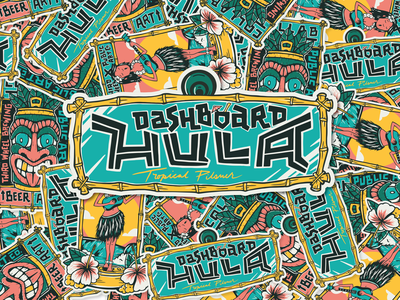 Dashboard Hula - Rearview Mirror Sticker bamboo beer can hula surf palm tree waves tropical hawaii car tiki handlettering beer branding design illustration