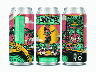 Dashboard Hula Can Mock surfing classic car car tiki mask bamboo lei palm trees hula hawaii surf ocean tiki tropical beer label beer can handlettering beer branding design illustration