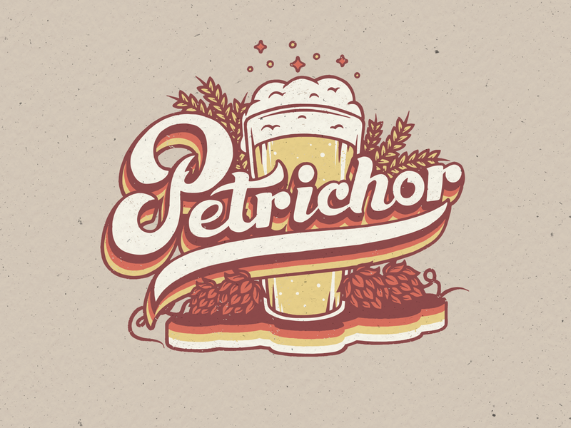 Petrichor Retro script lettering script wheat hops beer branding beer art 70s lettering handlettering beer design vector illustraion