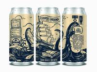 Course Ground Coffee IPA packaging label ipa palm island pirate octopus tattoo ship hops kraken coffee beer can handlettering cartoon beer branding illustration