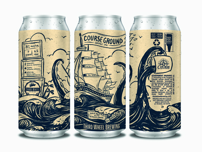 Course Ground Coffee IPA packaging label ipa palm island pirate octopus tattoo ship hops kraken coffee beer can handlettering cartoon beer branding illustration