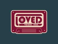 Loved Mixtape rock radio walkman cassette tape music vintage retro 70s mixtape cassette tape design vector illustration