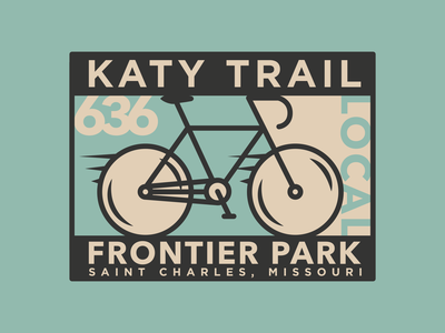 Katy Trail Frontier Park patch cyclist cycle stamp sticker badge design badge outdoors retro wheels tires bicycles bicycle bike branding design vector illustration