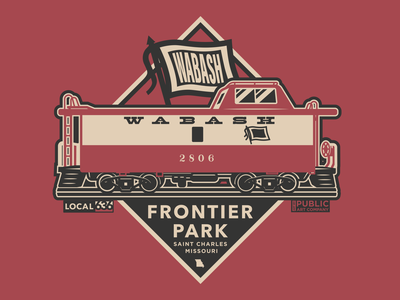 Wabash Train Frontier Park subway vintage railroad trains locamotive engine conductor caboose frieght train patch sticker badge design badge branding design vector illustration
