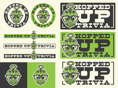 Hopped Up Trivia Graphics Kit retro nerd glasses question mark question trivia brew hop mascot brewery hops vintage beer can logo cartoon beer branding design vector illustration