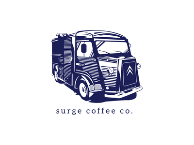 Surge Coffee Truck coffeeshop vintage logo design branding coffee van truck car vector illustration