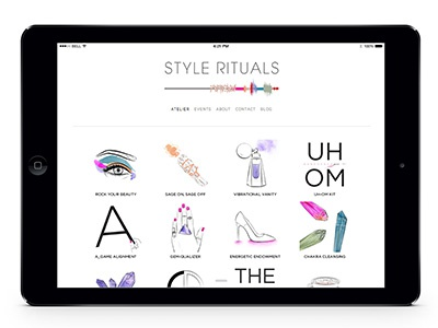 Style Rituals Homepage Layout color energy fashion mystical holistic watercolor vector art illustration
