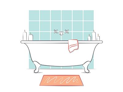Sleep Infographic Spot Illustration Set sleep relaxation icon line art wellness health bathtub illustration vector digital