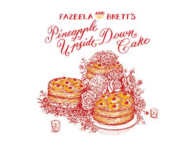 Pineapple Cake Recipe Card pineapple line art bridal wedding cake food recipe illustration hand lettering calligraphy