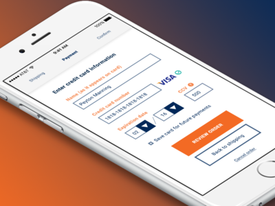 Daily UI - Day 002 - Credit Card Checkout app credit card payment mobile checkout 002 day 002 form flat dailyui
