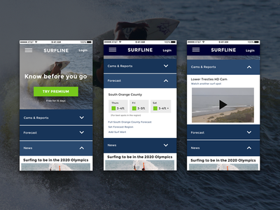 Surfline Redesign / Day 003 Daily UI responsive sports surf home page landing page mobile day 003 day003 003 dailyui
