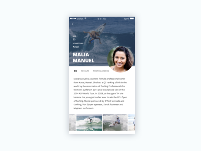 Daily UI - Day 006 - Profile app mobile account user surf day 6 006 day 006 profile dailyui