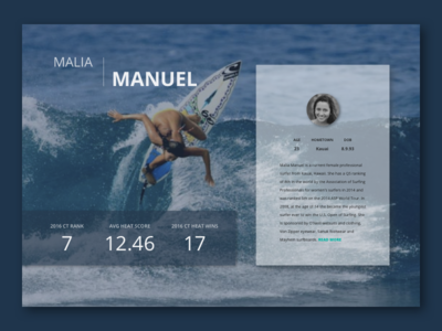 Daily UI - Day 006 - Profile surf desktop profile 006 day 006 day 6 daily ui