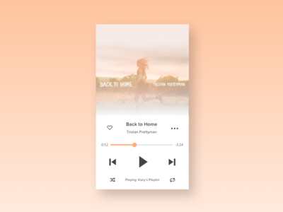 Daily UI - Day 009 - Music Player peach mobile day 9 day009 dailyui
