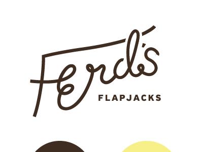 Ferd's Flapjacks lettering script ferd flapjacks pancakes brown apron