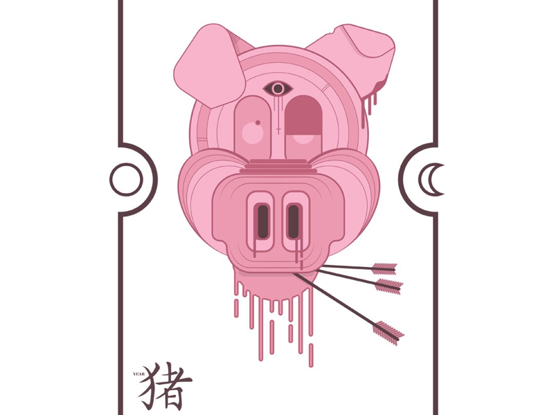 Year of the pig year animal art pig illustrator illustration adobe