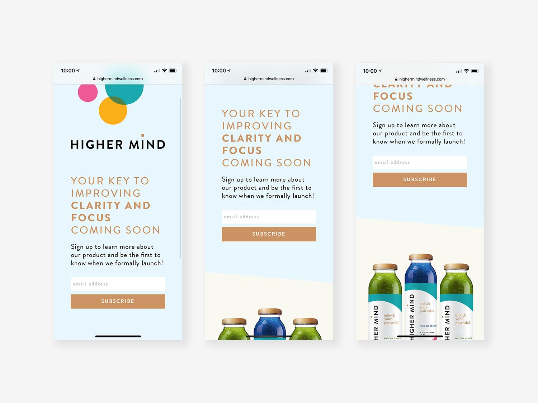 Higher mind landingpage mobile design