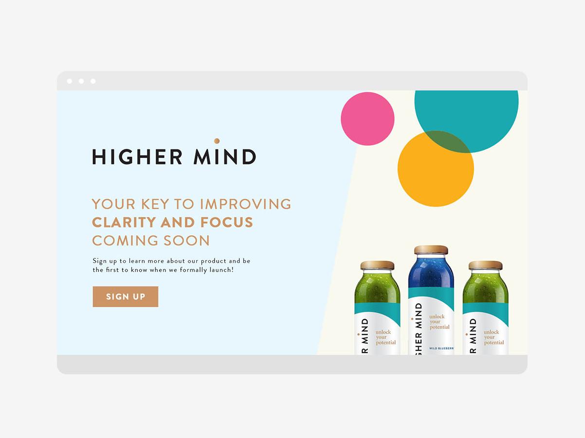 Higher Mind Wellness ecommerce design ecommerce website design web design user interface ui typography startup nootropic beverage layout design landing page design higher mind wellness digital design