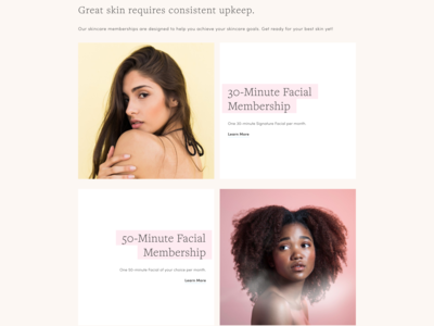 Facial Bar Website Snippet