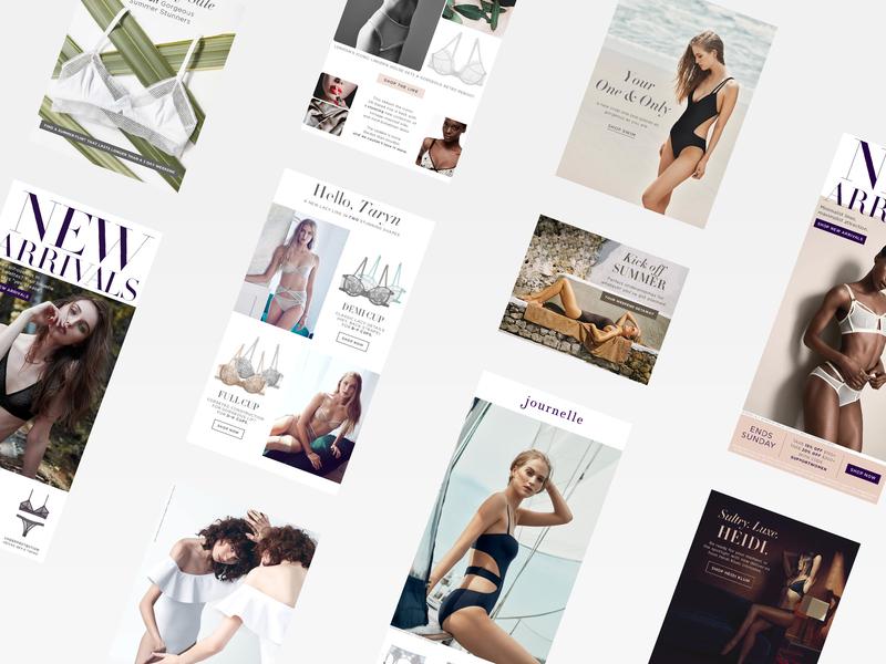 Journelle Emails adobe cc photoshop sketch image editing digital design typography layout newsletter design email design ecommerce lingerie journelle