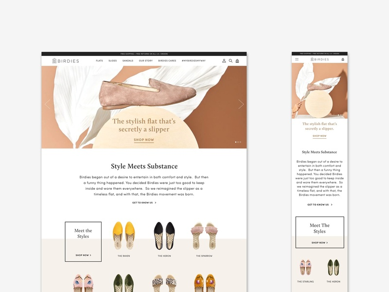 Birdies E-Commerce layout ecommerce design web design website design visual design shoe brand fashion brand ux ui user experience user interface shopify ecommerce birdies slippers