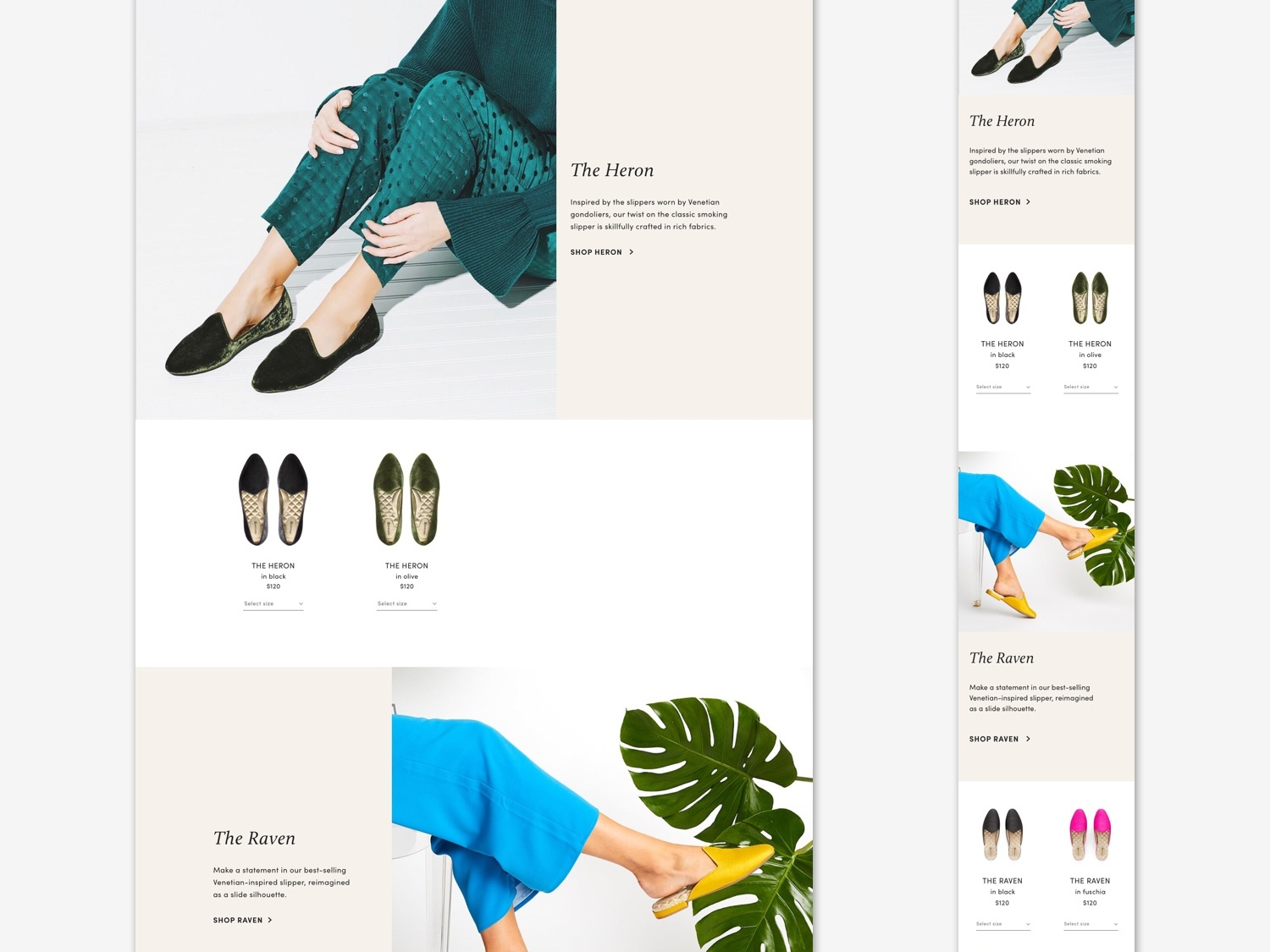 Collections snippet shoe brand fashion brand user experience user interface digital design ecommerce design layout ux ui web design ecommerce website design