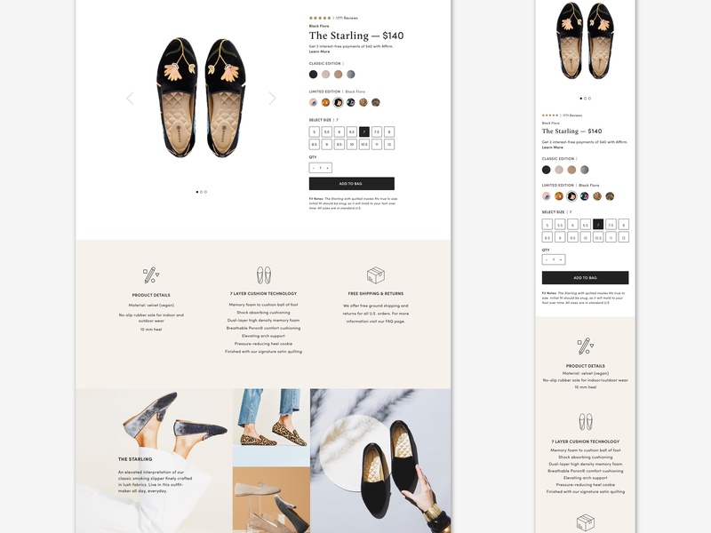 Product Detail Page Snippet birdies slippers fashion brand website design web design ux ui ecommerce shopify design ecommerce design visual design user interface user experience