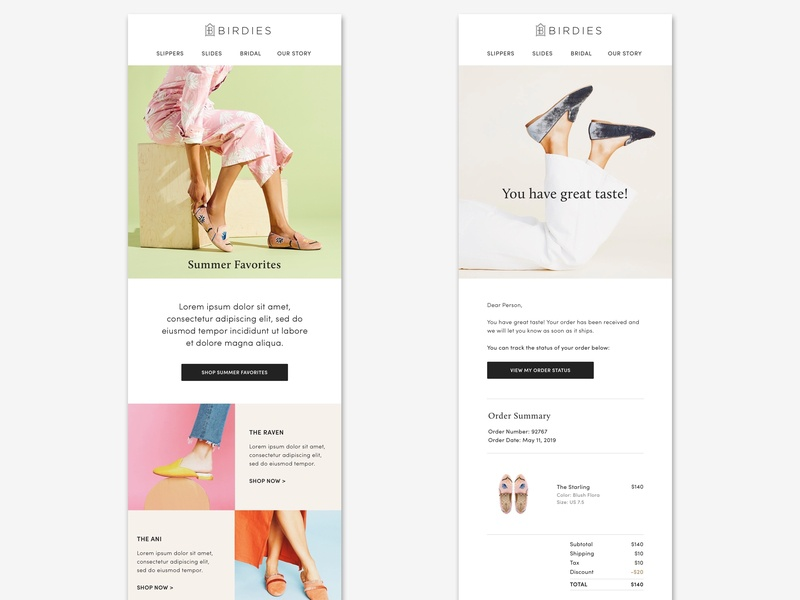 Email templates layout visual design shoe brand fashion brand email design birdies slippers