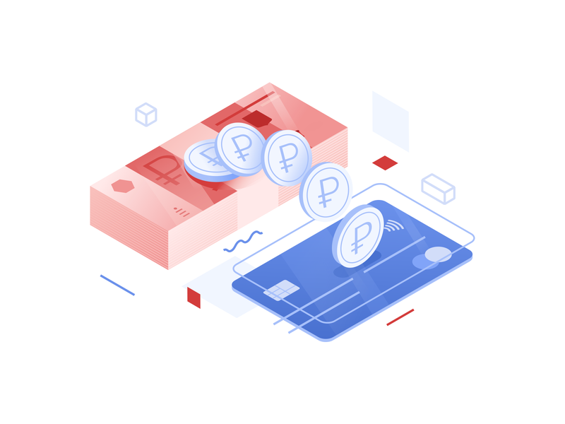 Isometric cashback isometry coin card rouble cashback finance bank vector illustration