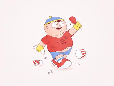 Eric Cartman south park walk vector illustration character