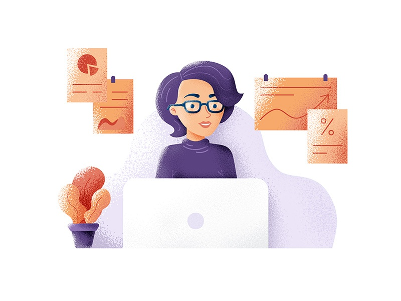 Consultant ui flat illustration texture noise character