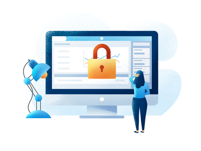 Access Denied character noise illustration flat ui bank finance error lock access forbidden block