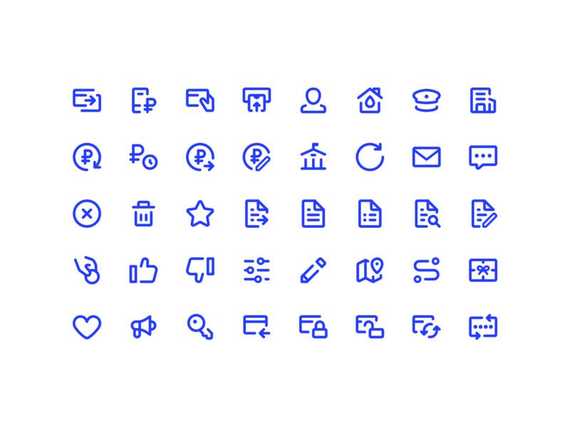 Icons 24x24 bank finance stroke ui set icon flat