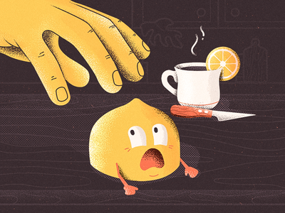 Lemon Escape fear knife noise retro hand cup tea photoshop cartoon texture character illustration