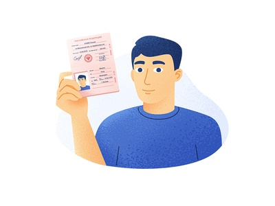 Selfie photo hold flat grain hand selfie passport man character illustration
