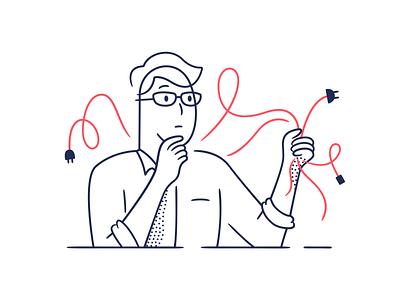 Error State vector outline error wire eyeglass man character illustration