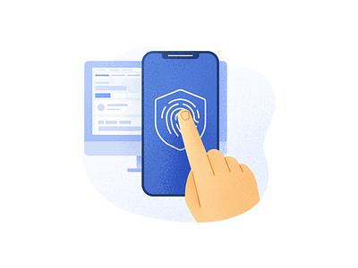 Secure Login noise grain account access finger fingerprint touch id illustration