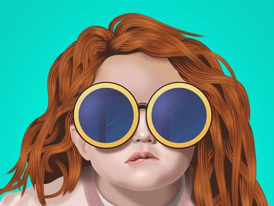 Childhood attitude style painting digital illustration cute cute girl girl baby child