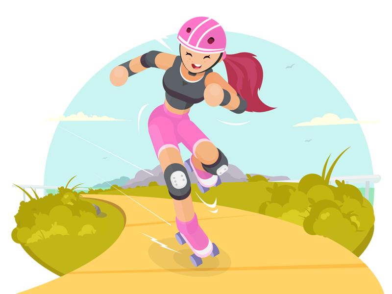 Whooh hooo..! surfing speed motion picnic colors illustration skater girl skating
