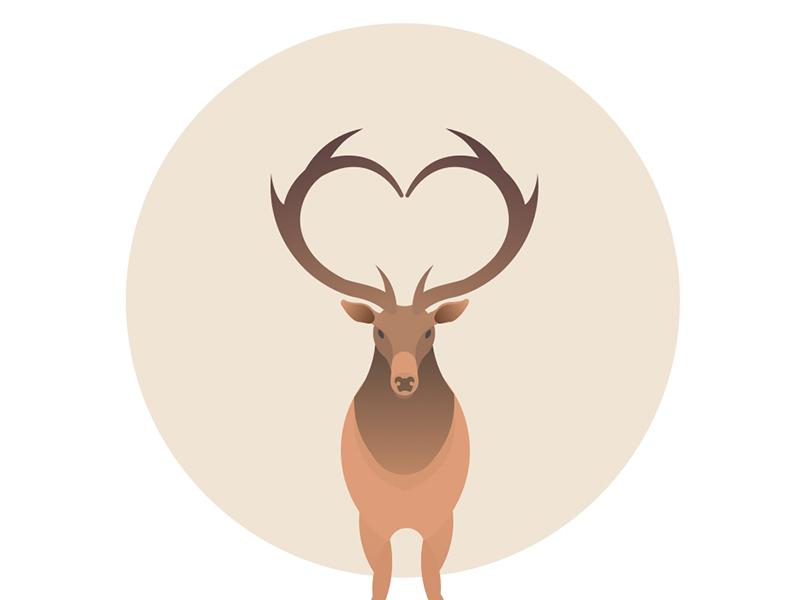 Elk golden ratio circle illustration minimal love icon deer elk