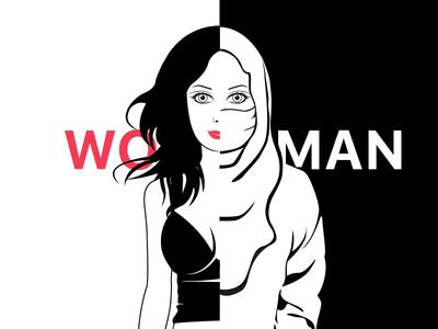 Wo-Man womens day woman man liberty lady girl freedom feminism face dark cage
