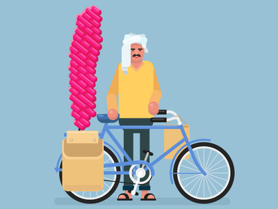 Candy Floss seller vendor sweet cycle bicycle indian rural candy floss