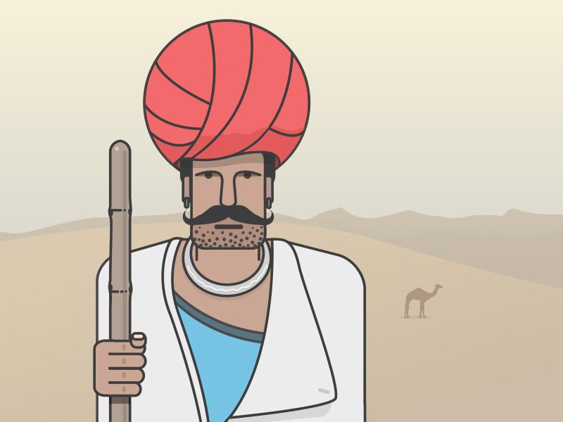 Rajasthani Man in Indian Summer people illustration illustration art illustration poorman poor indian summer summer desert man camel man rajasthani pagdi indian culture culture people indian india desert camel rajasthan