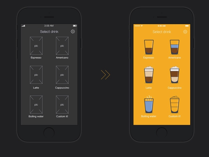UX coffee-machine remote App by Andrew Seleznev on Dribbble