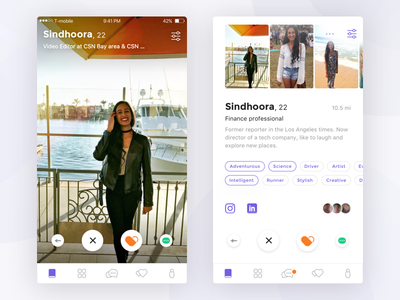 User profile in the dating app icon tabs dating photo ux ui ios clean purple white